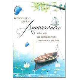 Cartes Mots du bonheur Anniversaire Tous âges Barque
