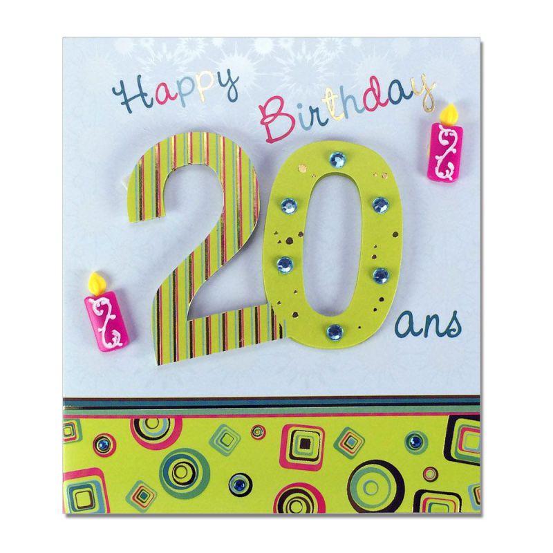 Carte anniversaire 20 ans prestige - Impression photo gratuite sans frais de port ...