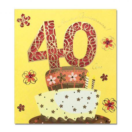 Carte Anniversaire 40 ans Prestige