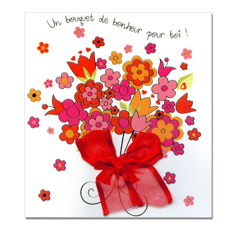 Carte Sentiments Prestique Bouquet de fleurs - Une carte pour toi