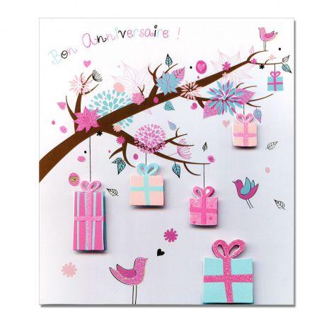 Carte Anniversaire Prestige Branches de cadeaux