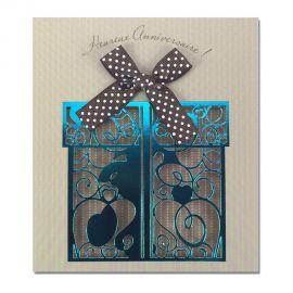 Carte Anniversaire Prestige Cadeau bleu