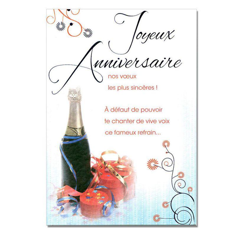 Très Cartes Mots du bonheur Anniversaire Tous âges Champagne - Une  PD62