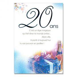 Cartes Mots du bonheur Anniversaire 20 ans bleue