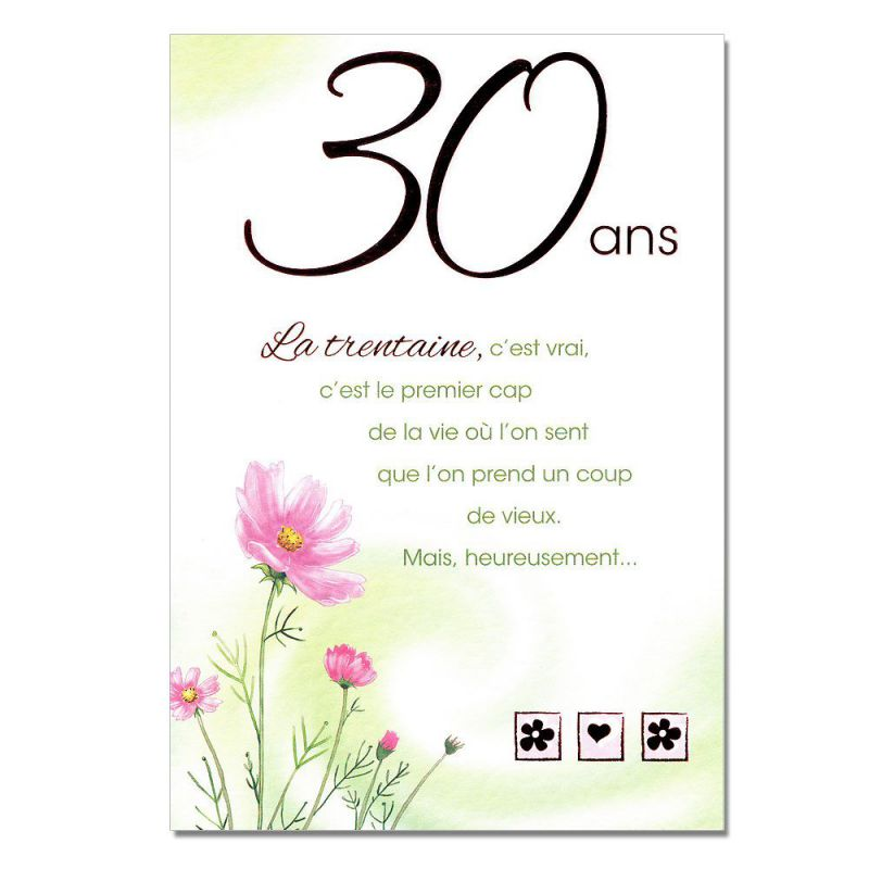 cartes mots du bonheur anniversaire 30 ans une carte. Black Bedroom Furniture Sets. Home Design Ideas