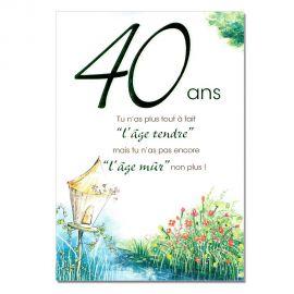 Cartes Mots du bonheur Anniversaire 40 ans verte
