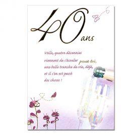 Cartes Mots du bonheur Anniversaire 40 ans violette