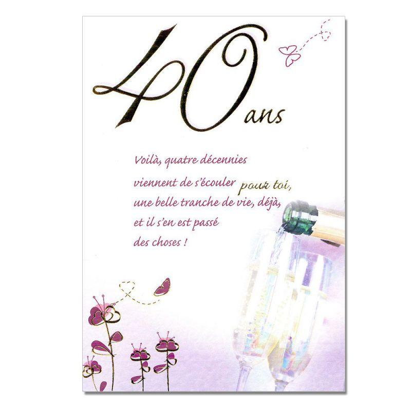 Carte Anniversaire 40 Ans Femme Coleteremelly Official