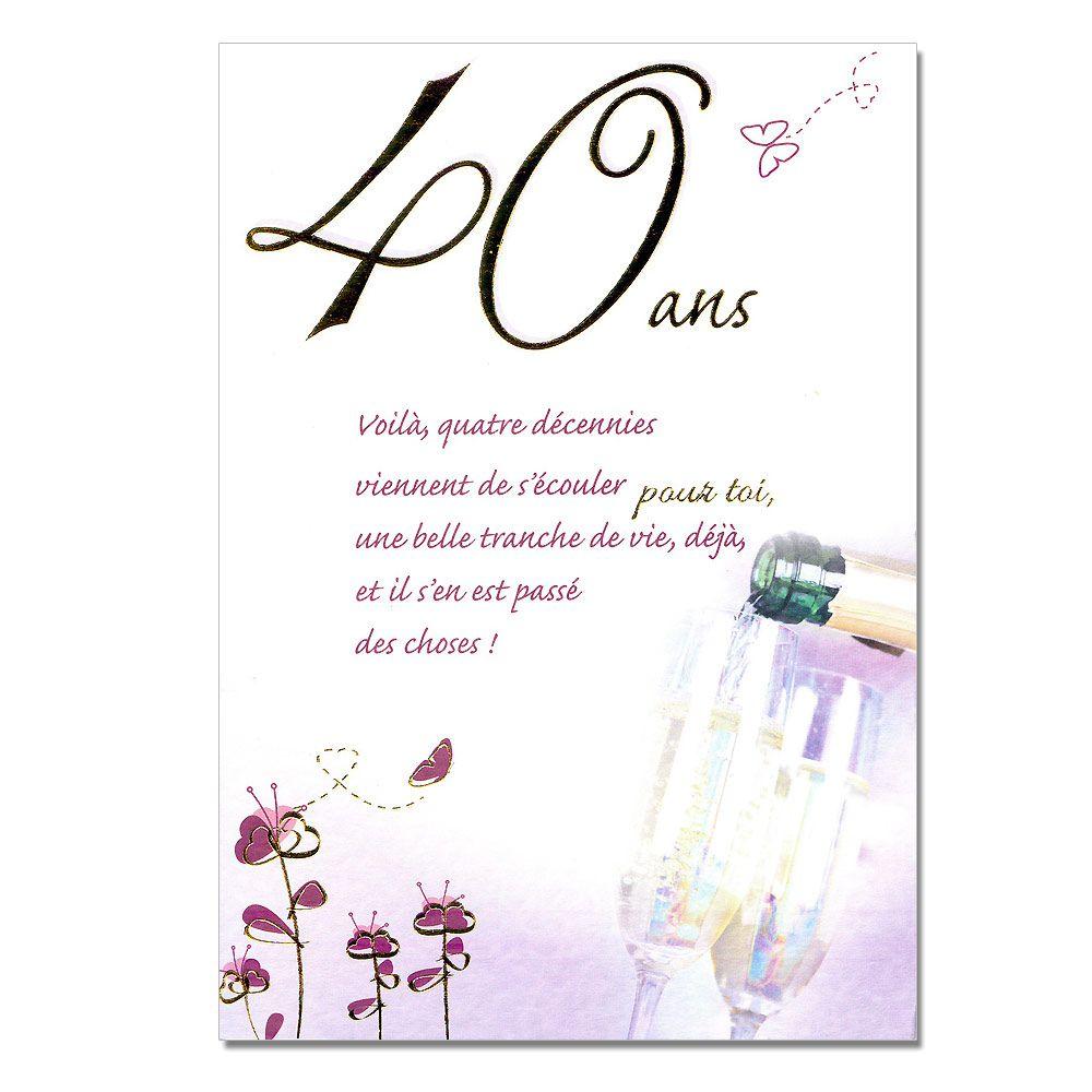 Cartes Mots Du Bonheur Anniversaire 40 Ans Violette Une Carte Pour Toi