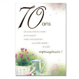 Cartes Mots du bonheur Anniversaire 70 ans