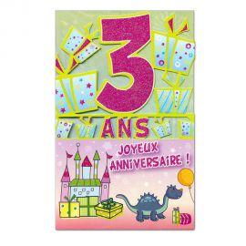 Carte Anniversaire 3 ans  découp'âge