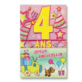 Carte Anniversaire 4 ans découp'âge