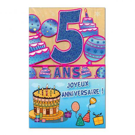 Carte Anniversaire 5 ans  découp'âge