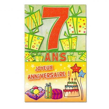 Carte Anniversaire 7 ans  découp'âge