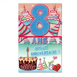 Carte Anniversaire 8 ans  découp'âge