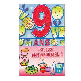 Carte Anniversaire 9 ans  découp'âge