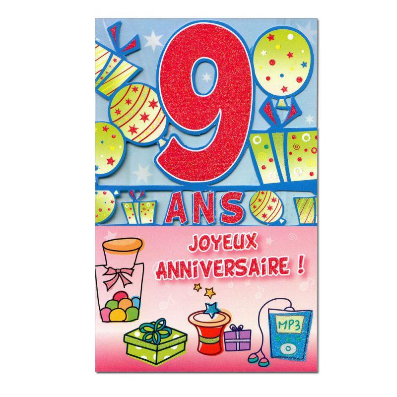 Carte Anniversaire 9 Ans Decoup Age Une Carte Pour Toi
