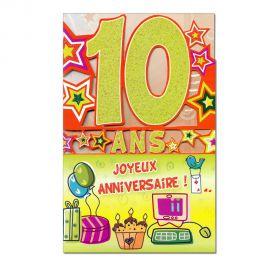 Carte Anniversaire 10 ans Vert découp'âge