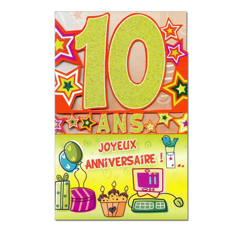 Carte Anniversaire 10 Ans Vert Decoup Age Une Carte Pour Toi