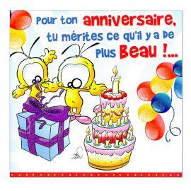 Cartes Piaf papillon anniversaire tous âges le plus beau