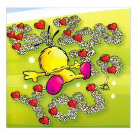 Cartes Piaf papillon sentiments Bisous to you
