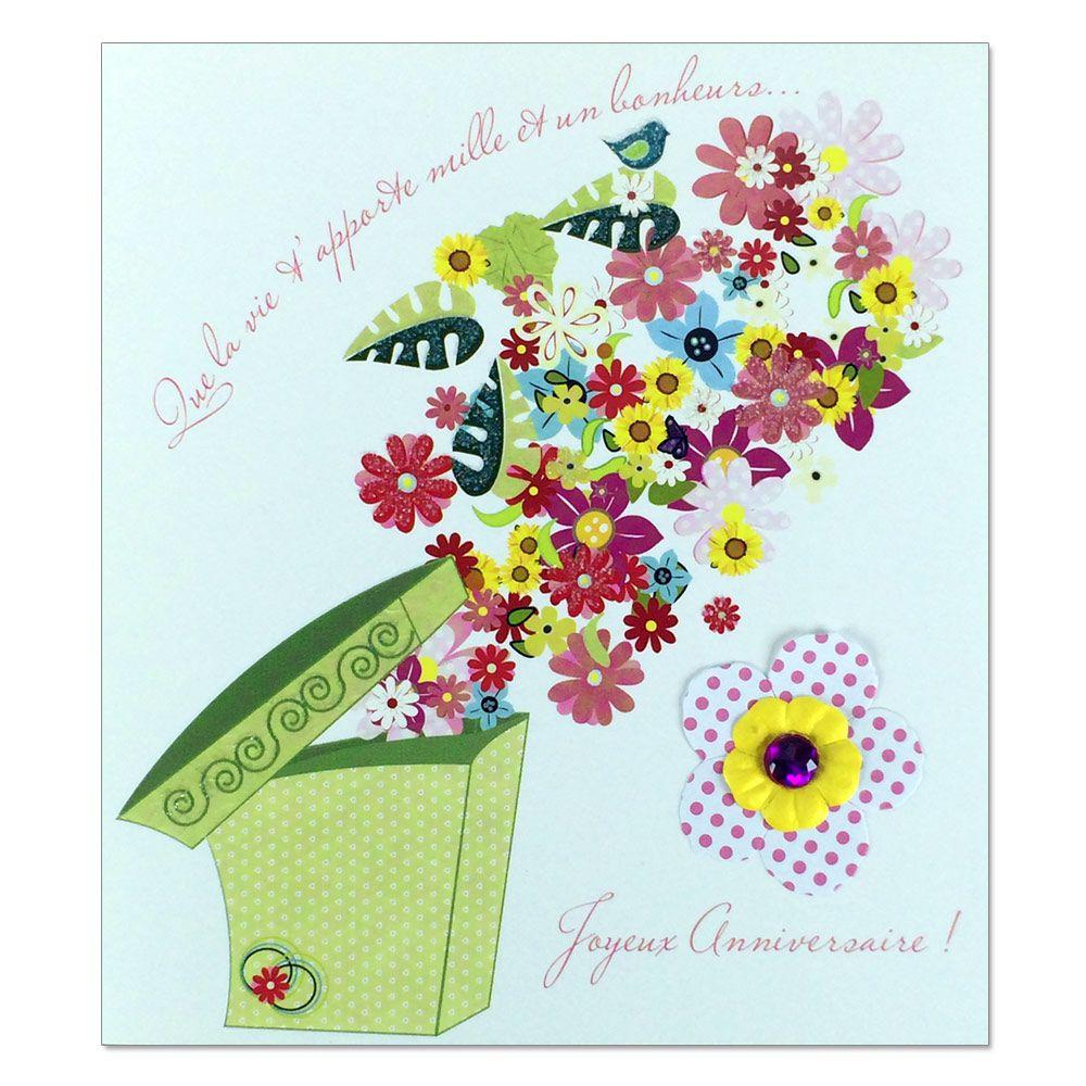 Carte Anniversaire Prestige Boite De Fleurs Une Carte Pour Toi