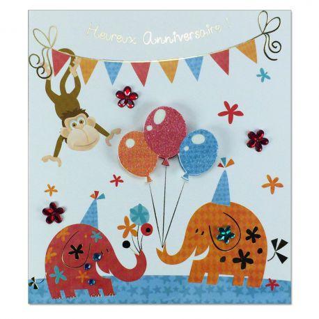 Carte Anniversaire Prestige Eléphant et ballons
