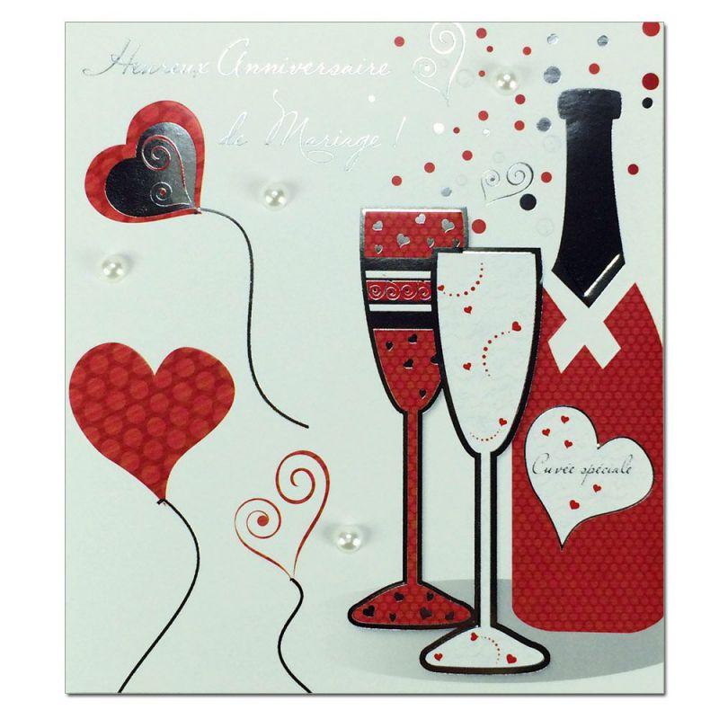 carte anniversaire de mariage prestige bouteille une. Black Bedroom Furniture Sets. Home Design Ideas