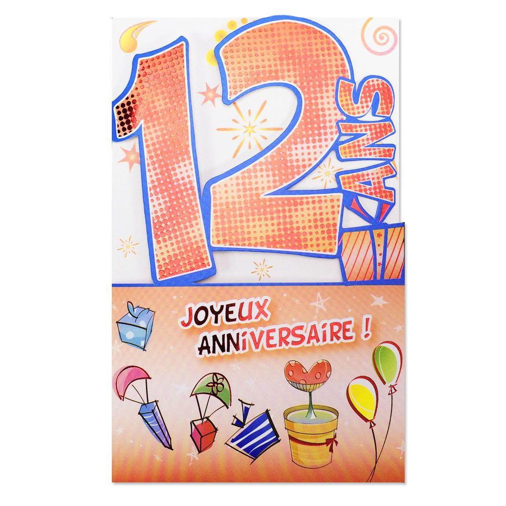 Carte Anniversaire 12 Ans Decoup Age Une Carte Pour Toi
