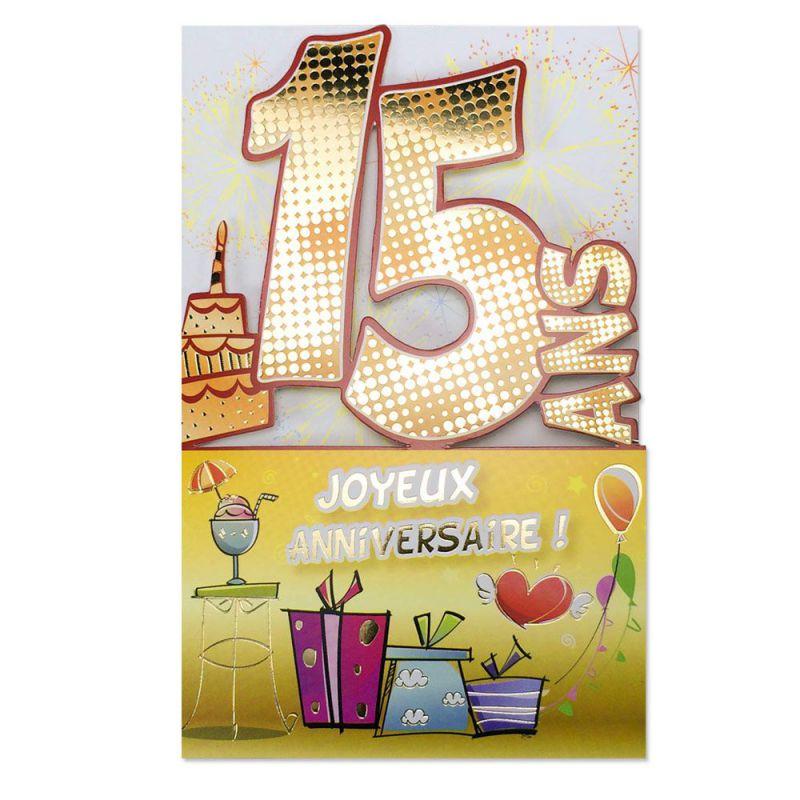 Carte Anniversaire 15 Ans Decoup Age Une Carte Pour Toi