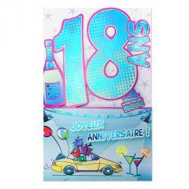 Carte Anniversaire 18 ans Bleu découp'âge