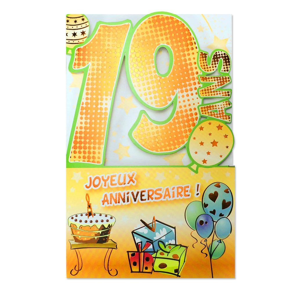 Carte Anniversaire 19 Ans Decoup Age Une Carte Pour Toi
