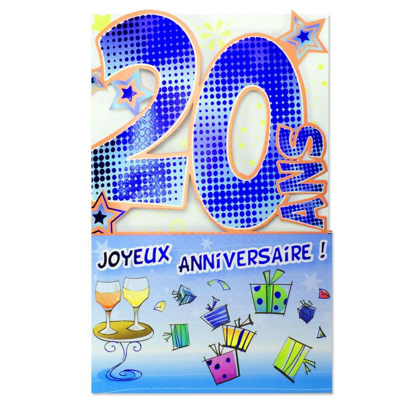 Carte Anniversaire 20 Ans Bleu Decoup Age Une Carte Pour Toi