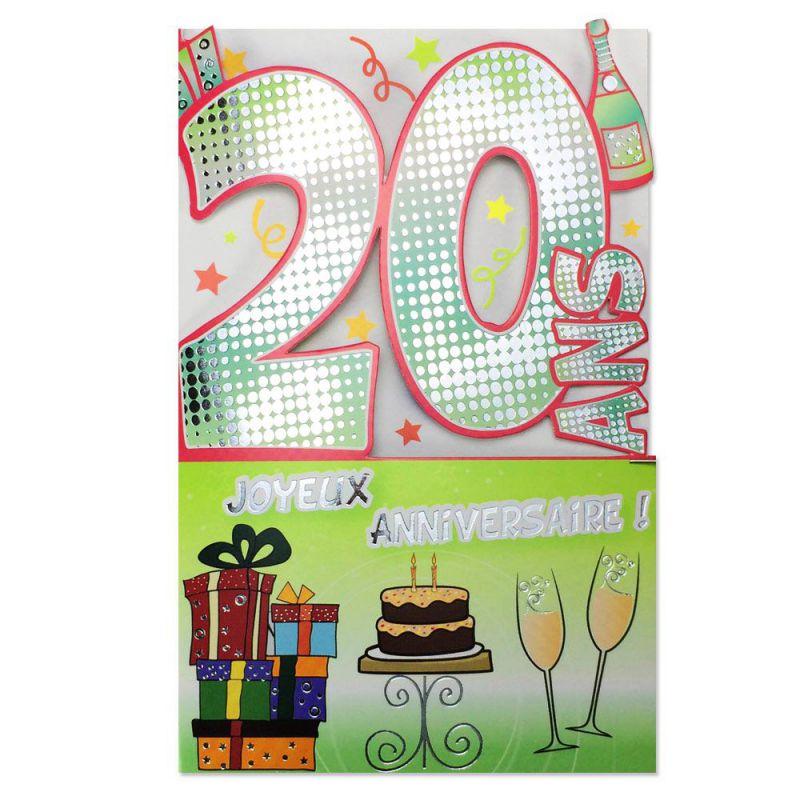 carte anniversaire 20 ans gris d coup 39 ge une carte pour toi. Black Bedroom Furniture Sets. Home Design Ideas