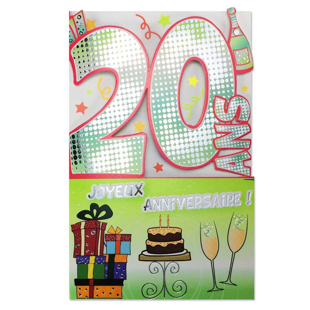 Carte Anniversaire 20 Ans Gris Decoup Age Une Carte Pour Toi