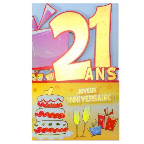Carte Anniversaire 21 ans découp'âge
