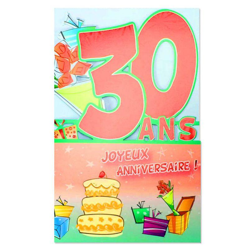 Carte anniversaire 30 ans rouge d coup 39 ge une carte - Impression photo gratuite sans frais de port ...