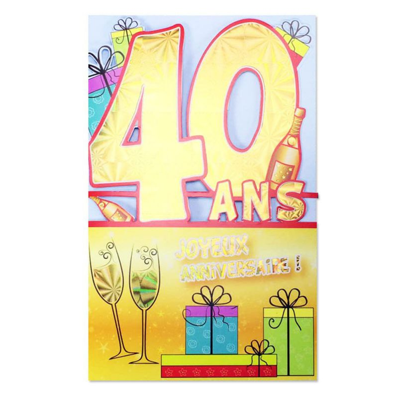 carte anniversaire 40 ans jaune d coup 39 ge une carte pour toi. Black Bedroom Furniture Sets. Home Design Ideas