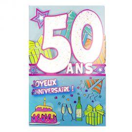 Carte Anniversaire 50 ans Gris découp'âge