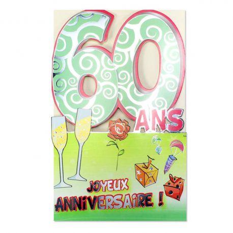Carte Anniversaire 60 ans Vert découp'âge