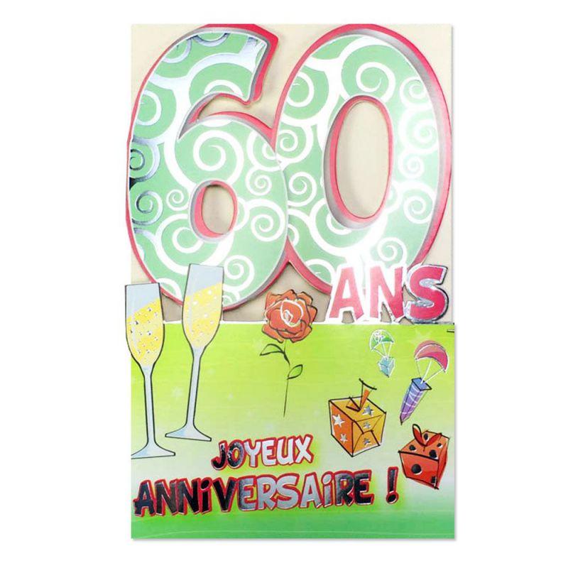 carte anniversaire 60 ans vert d coup 39 ge une carte pour toi. Black Bedroom Furniture Sets. Home Design Ideas