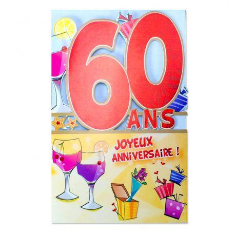 Carte Anniversaire 60 ans Rouge découp'âge