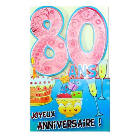 Carte Anniversaire 80 ans Rose découp'âge