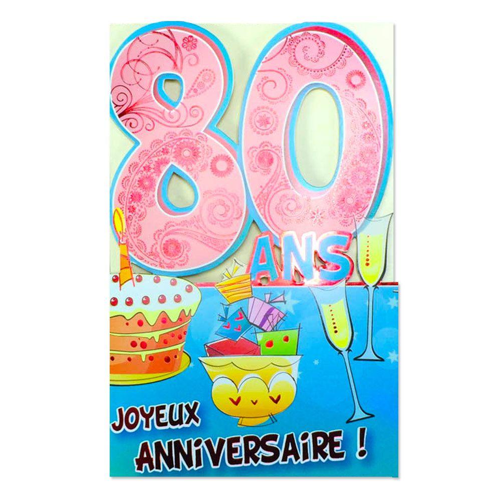 Carte Anniversaire 80 Ans Rose Decoup Age Une Carte Pour Toi