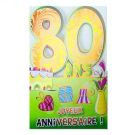 Carte Anniversaire 80 ans Orange découp'âge