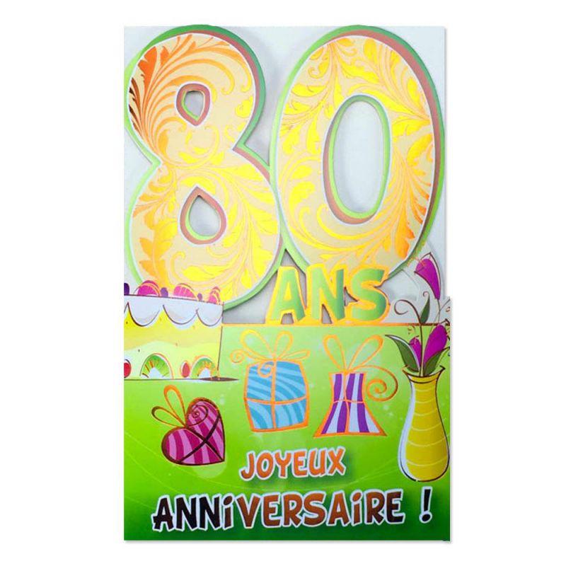 Carte Anniversaire 80 Ans Orange Découpâge Une Carte Pour Toi