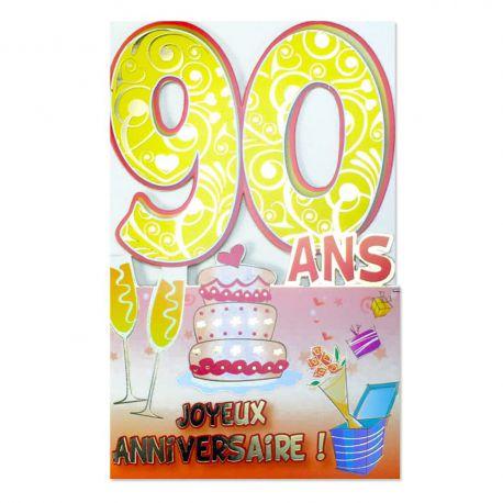 Carte Anniversaire 90 ans découp'âge
