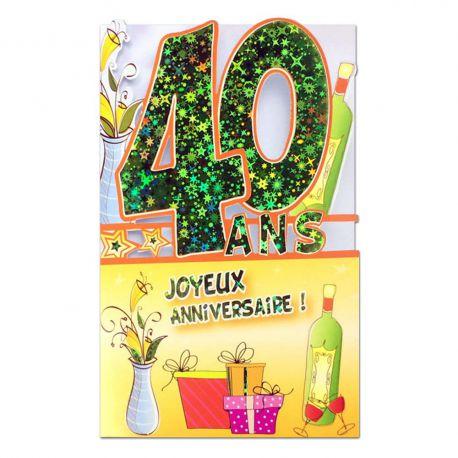 Carte Anniversaire 40 ans Vert découp'âge