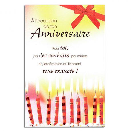 Cartes Mots du bonheur Anniversaire Tous âges Bougies rouges