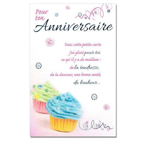 Cartes Mots du bonheur Anniversaire Tous âges Petits cakes